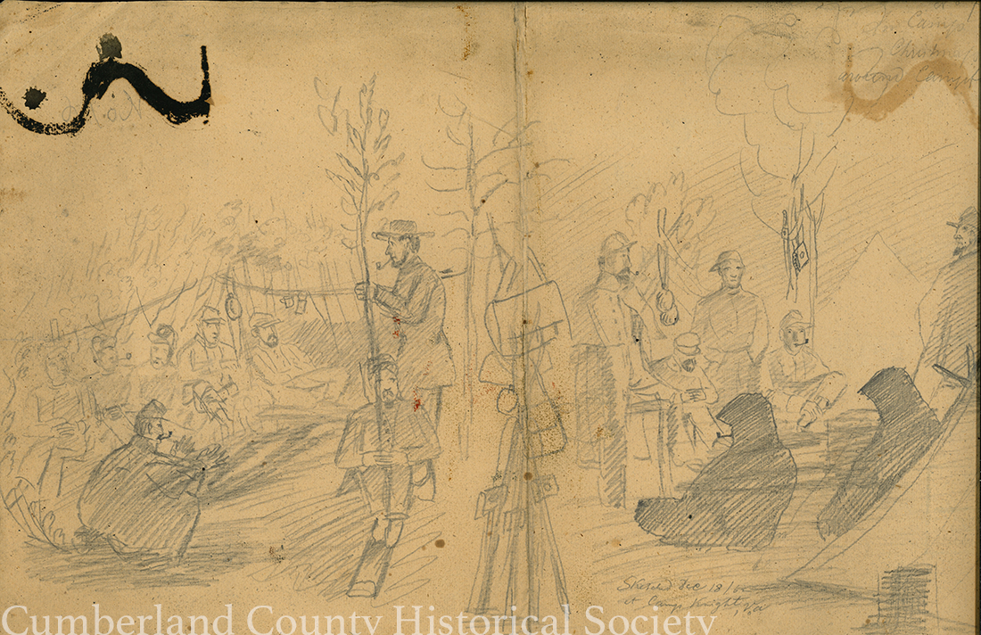 "Camp Knight December 18, 1862 (Christmas Eve 62); Camp Knight December 18, 1862, ""Camp Christmas Around Camp"" Image"