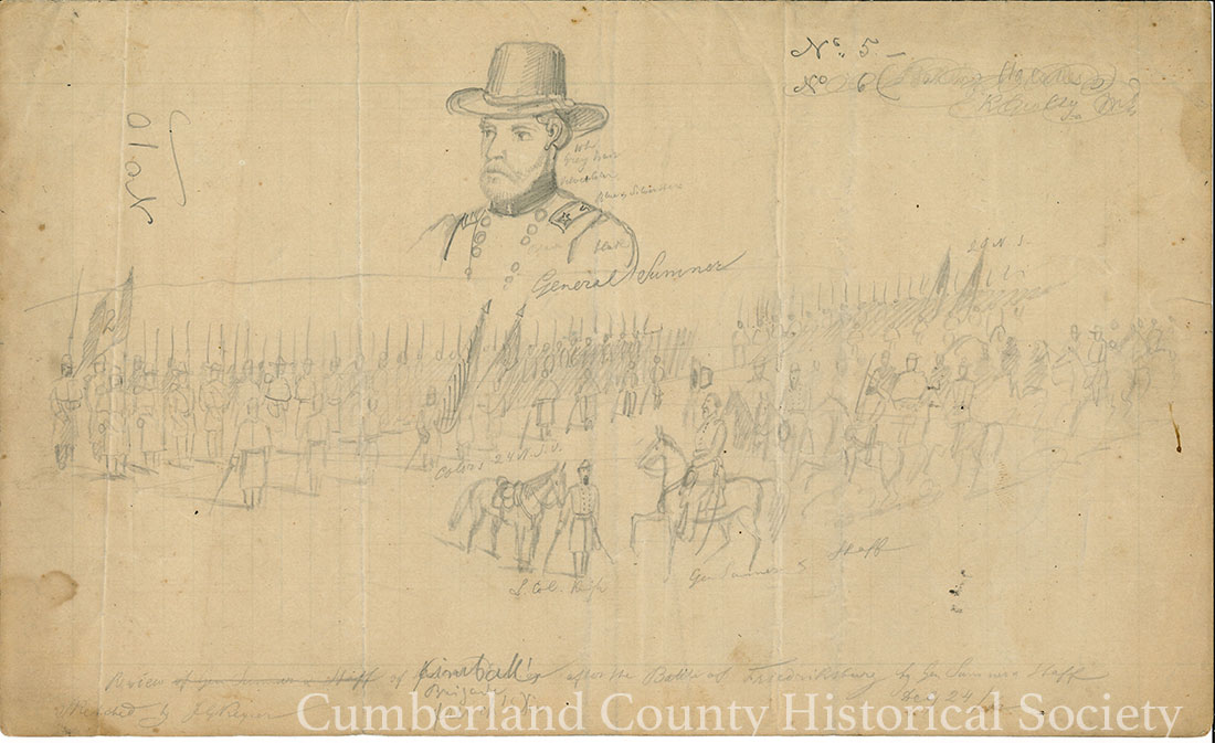 Fredericksburg December 24, 1862 Review of Kimball's, Originally French's Div., Brigade after the Battle of Fredericksburg by Gen. Sumner and Hoff and Lieut. Col. Knight. Rescheduled by J. G. Keyser Image