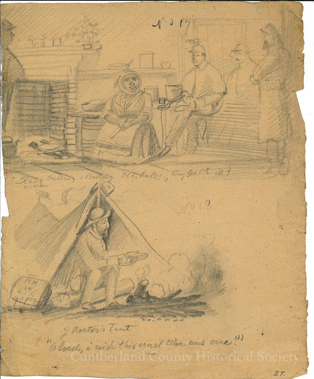 Slave Woman – J. Norton's Tent – On Back: Camp Night January 1, 1863 Image