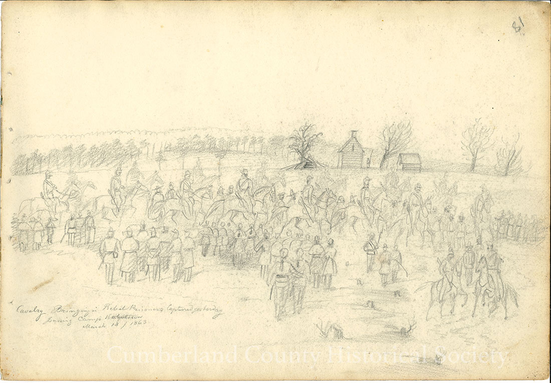 Cavalry Bringing Rebel Prisoners Captured yesterday leaving Camp Robertson March 18, 1863 Image