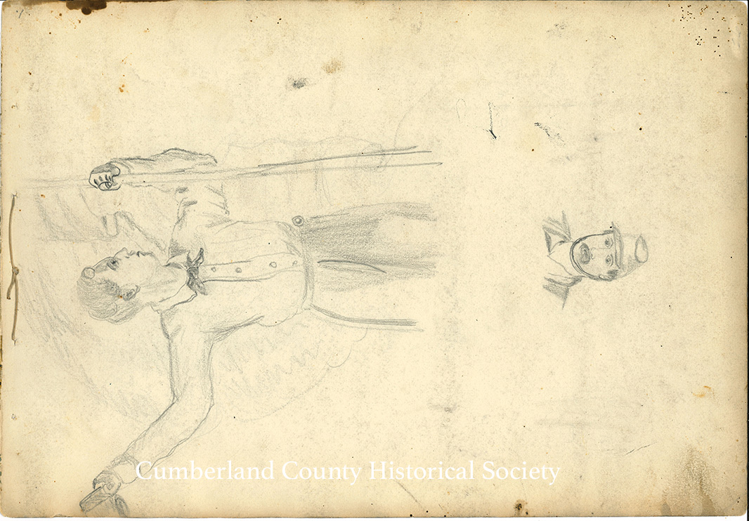 4. Man holding a flag with his hat in the other hand – Below that is a sketch of a man from his head to his shoulders – (Back of Sketch #3) Image