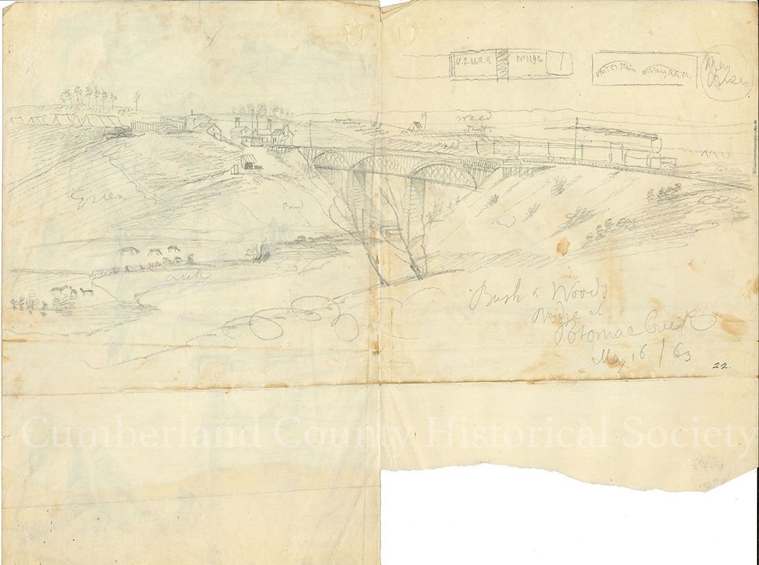 Bush and Woods Ridge at Potomac Creek May 16, 1863 (Back of #47) Image