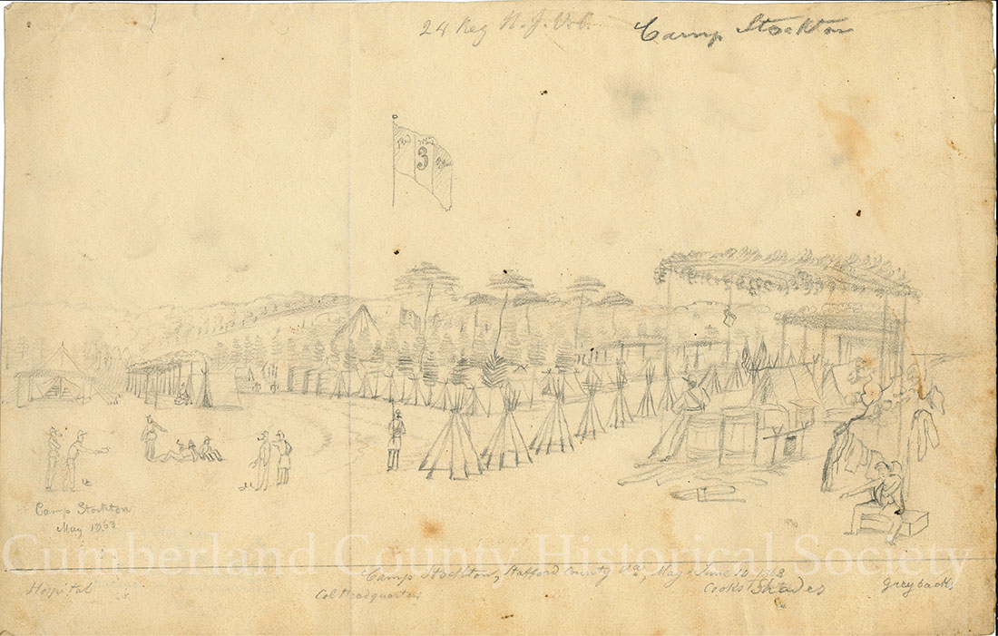 24 Reg. N.J. Vol. Camp Stockton, Stafford County VA, May & June 10, 1863, Hospital, Col. Headquarters, Cooks, Grey backs Image